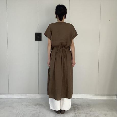【 artepovera-2021summer32 】リネン染め カシュクールワンピース