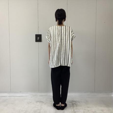 【 artepovera-2021summer05 】リネンストライプ ノーカラーシャツ