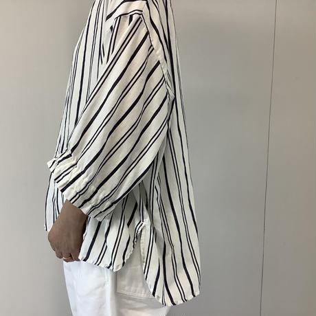 【 artepovera-2021summer59 】コットンシルクストライプ カフスリーブシャツ