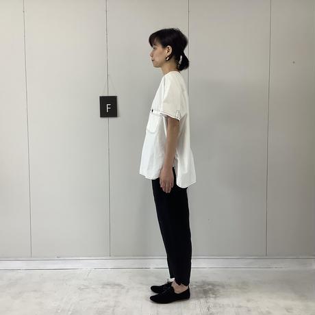 【 artepovera-2021summer06 】シャンブレー配色ステッチ ノーカラーシャツ