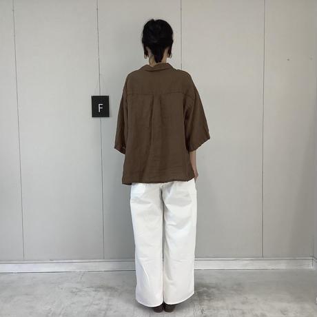 【 artepovera-2021summer30  】リネン染め オープンシャツ
