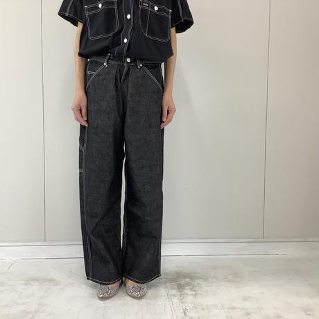 【 artepovera-2021summer09 】デニム配色ステッチ タック&ダーツパンツ
