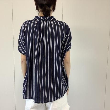 【 artepovera-2021summer58 】コットンシルクストライプ NEWバルーンシャツ