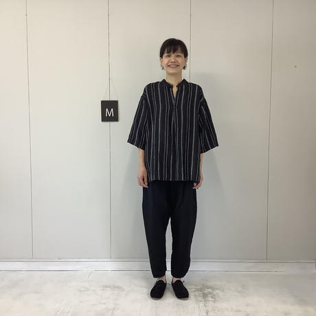 【 artepovera-2021summer02 】リネンストライプ  スタンドシャツ