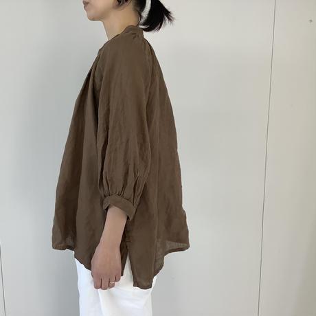 【 artepovera-2021summer35  】リネン染め ギャザリングシャツ