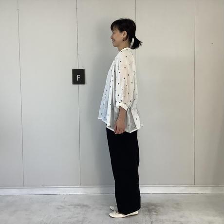 【 artepovera-2021summer19 】ピマコットンジャガード ギャザリングスタンドシャツ