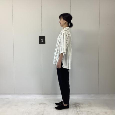 【 artepovera-2021summer01  】リネンストライプ オープンシャツ