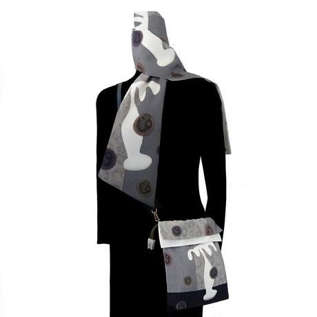 No.23 KSB★2WAY KINCHAKU 【White Palm】本体内ポケット+ Pポーチ付 オリジナルプリント &ハンドメイド少数販売品