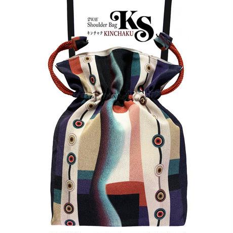 No.67 KSB★2WAY  KINCHAKU 【New Harmonyニューハーモニー】本体内ポケット+Pポーチ付 オリジナルプリント&ハンドメイド少数販売品