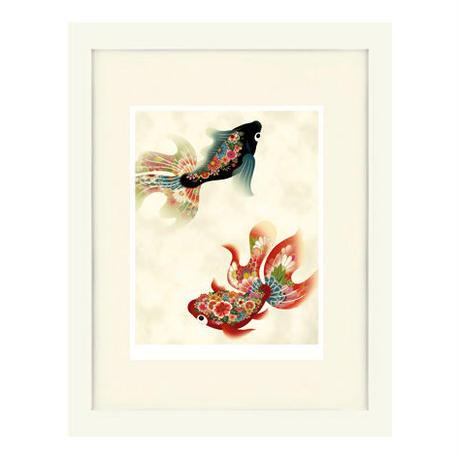 No.103★【金魚の夢】古色2ひき額装ジークレー版画(デジタルリトグラフ)