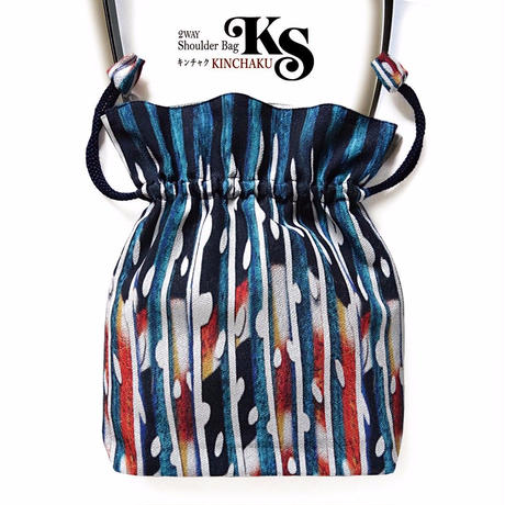 No.57 KSB★2WAY KINCHAKU 【Mineral Bubbles鉱物の泡】[本体内ポケット+Pポーチ付] オリジナルプリント&ハンドメイド少数販売品  のコピー