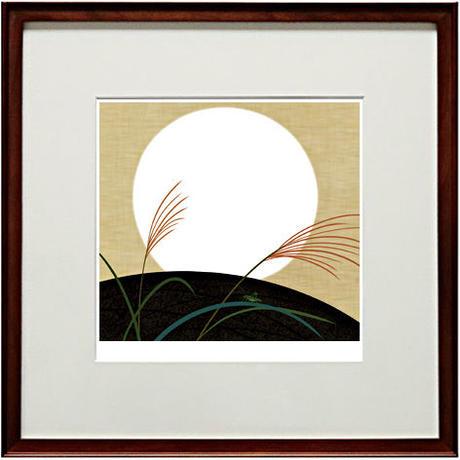 No.124★【白月】額装ジークレー版画45cm正方形(額縁の末端から末端迄)