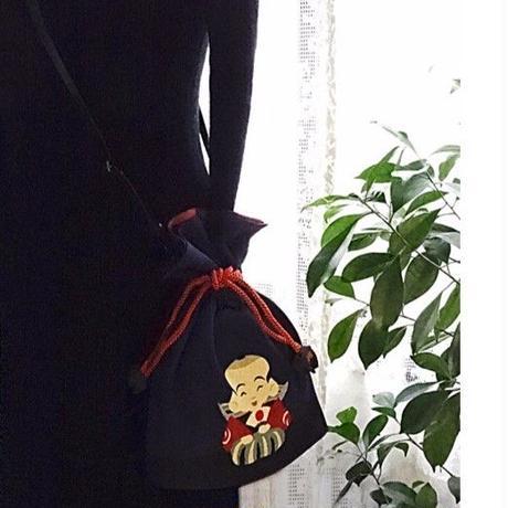 No.53 KSB-P★2WAY  KINCHAKU【福助さん】「福結び」にこにこシリーズ [Pポーチ付内ポケット無し] ★オリジナルプリント&ハンドメイド少数販売品