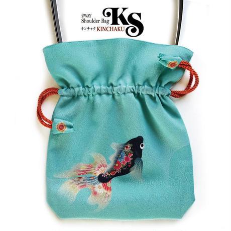 No.36 KSB★2WAY   KINCHAKU  【 黒金魚 】[Pポーチ付内ポケット無し★たて約1cm小ぶりサイズ] オリジナルプリント&ハンドメイド少数販売品