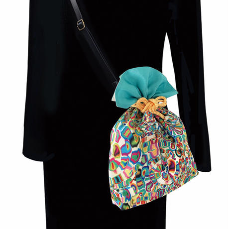 No.66 KSB★2WAY  KINCHAKU 【Spireスパイラ】本体内ポケット+Pポーチ付 オリジナルプリント&ハンドメイド少数販売品