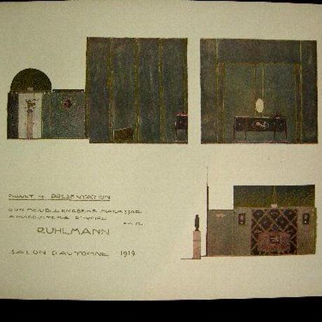 d:アール・デコ期の著名家具デザイナー、リュルマンのポショワール。1919年サ  サロンドートンヌ出品案内