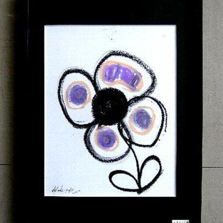 #10 現代アート作家・今井アレクサンドルのクレヨン画 「花 」新品額入り
