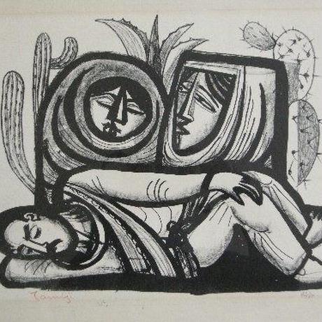 北川民次 リトグラフ 「眠るインディアン」