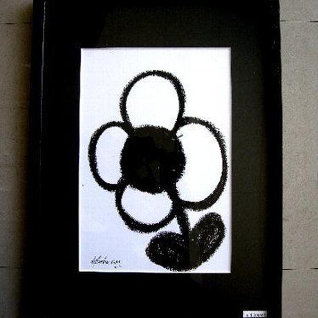 #8 人気現代アート作家・今井アレクサンドルのクレヨン画 「 花」 新品額入り