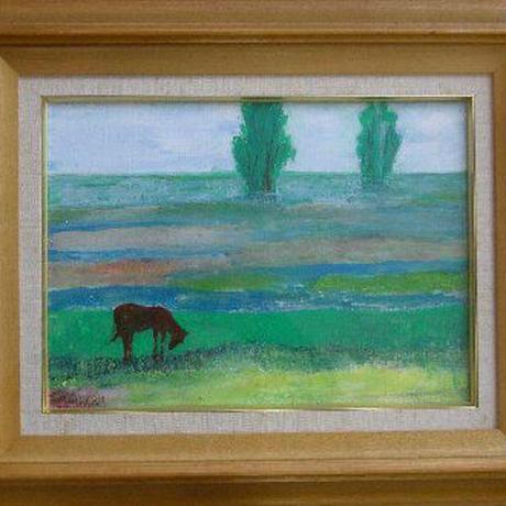 油彩 「沼の馬」