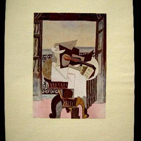 a:アンティーク・シート  ピカソの複製印刷画が台紙にセットされたアンティークシート。1920年制作