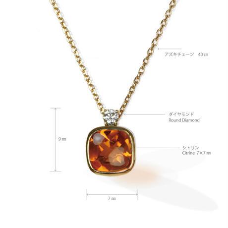 K18 シトリン ダイヤモンド ネックレス