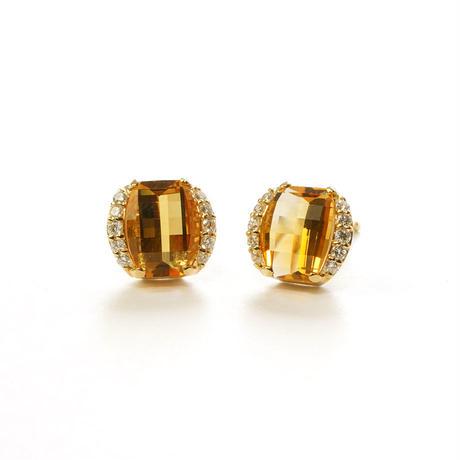 K18 ダイヤモンド シトリン ピアス