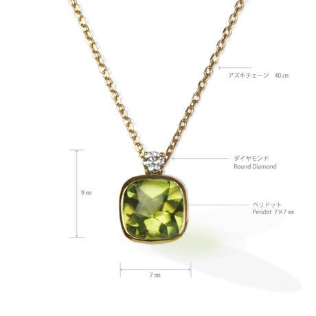 K18 ペリドット ダイヤモンド ネックレス