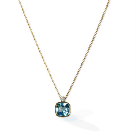 K18 ブルートパーズ ダイヤモンド ネックレス