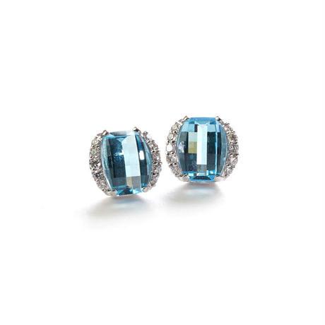 K18WG ダイヤモンド ブルートパーズ ピアス