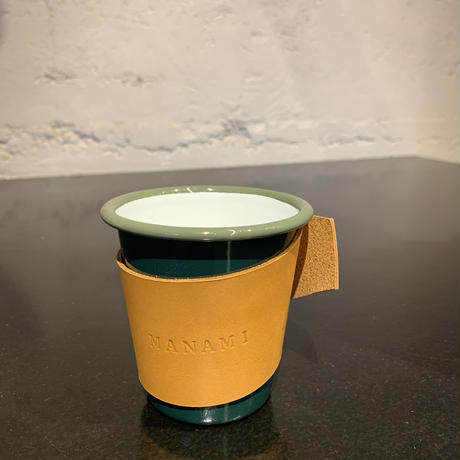 falcon  enamelware cup + craft leather sleeve +Gift box