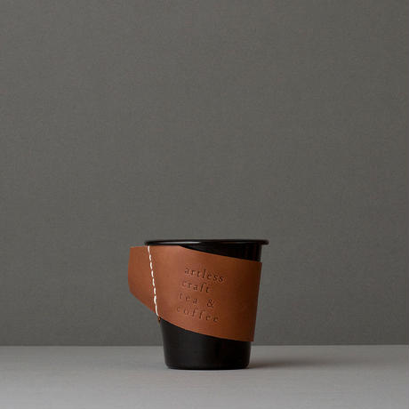 falcon  enamelware cup  + craft leather sleeve & coaster