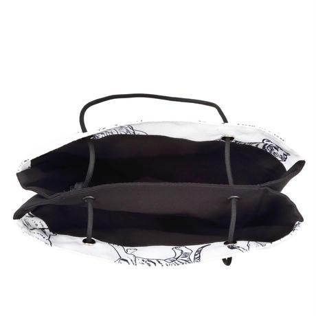 ARUMO どうぶつプリント ダブルポケットバッグ / ブラック&ホワイト