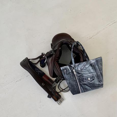 ARUMO  トロンプルイユトートバッグ / ブラックレザージャケット