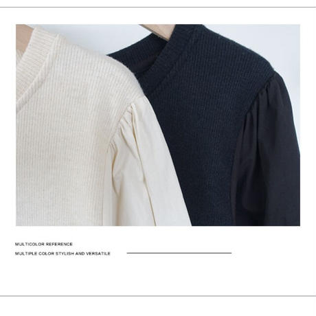 volume sleeve mix blouse/2color