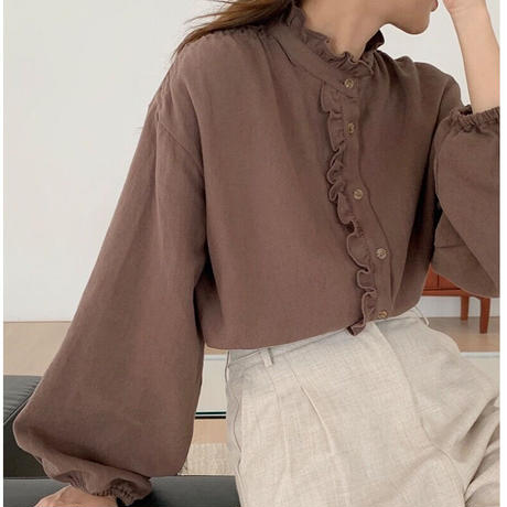 frill stand collar tops/3color