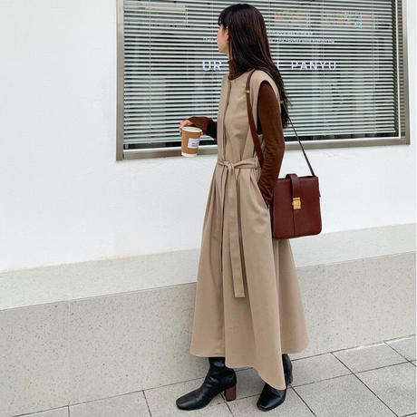 front button long vest dress/3color