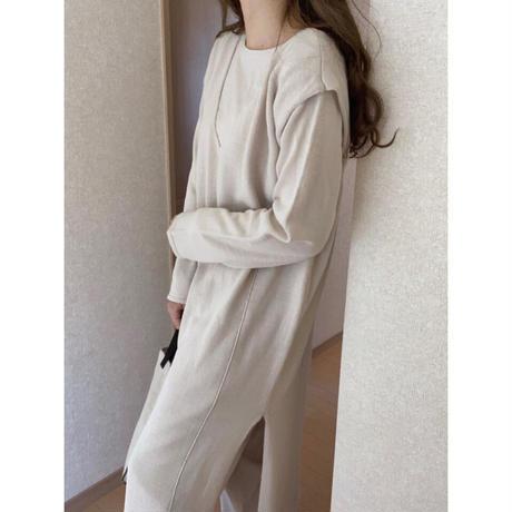 【SET】short pullover & V neck OP/4color