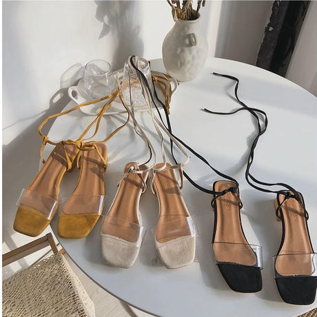clear lace up sandal/ivory[0085]