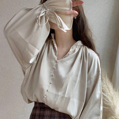 satin long blouse/3color
