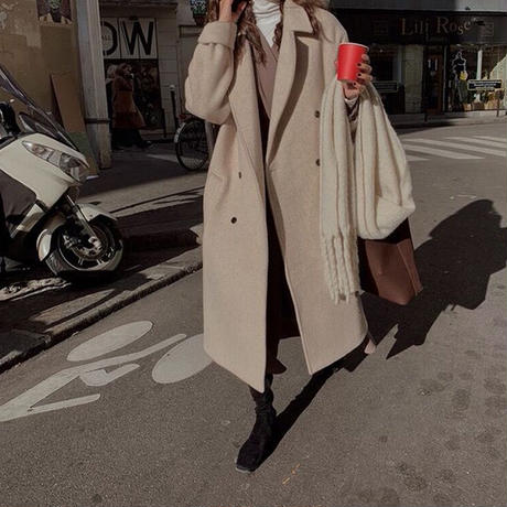 【wool 100%】standard double long coat/3color【hand made】