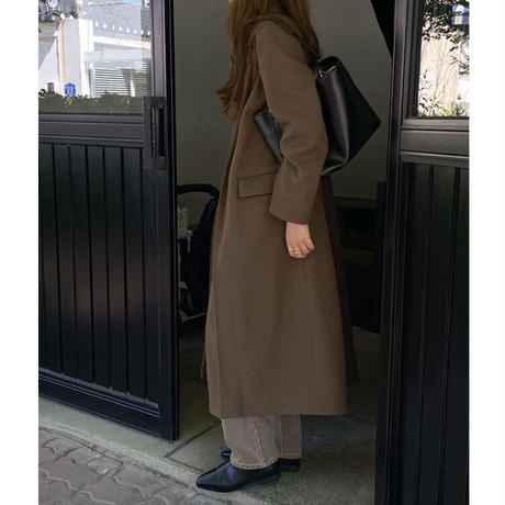 wool tuck stencollar  coat/2color