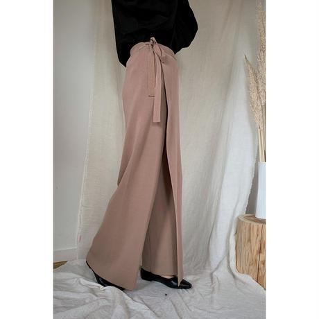 wrap wide knit pants/3color