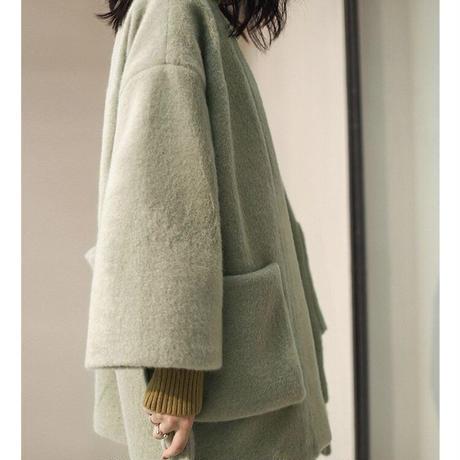 shaggy short gown coat/2color