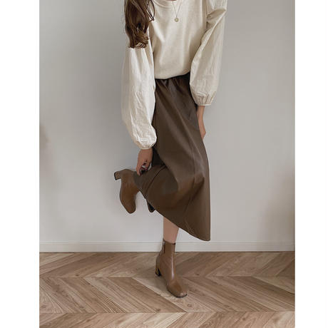 eco leather flare skirt/2color
