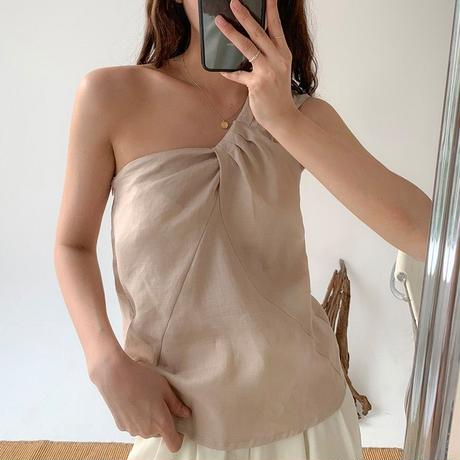 【linen100%】one shoulder tops/2color