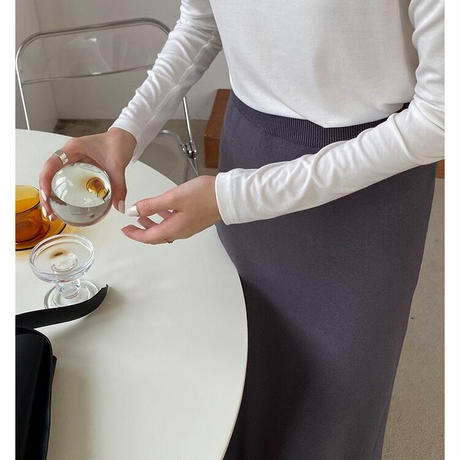 knit wrap skirt/3color