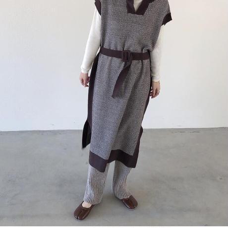 houndstooth long kint vest