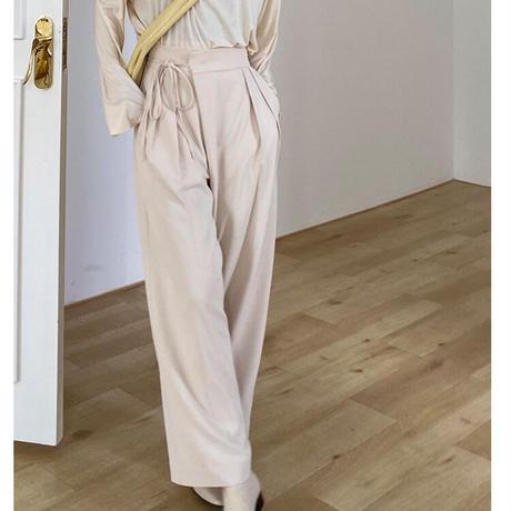 side ribbon wide slacks/3color