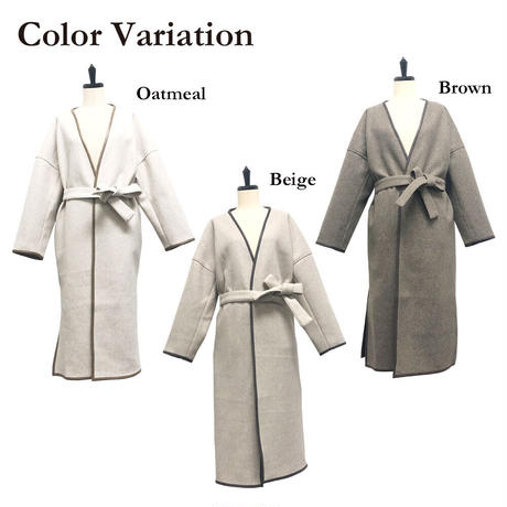 piping long gown coat/3color